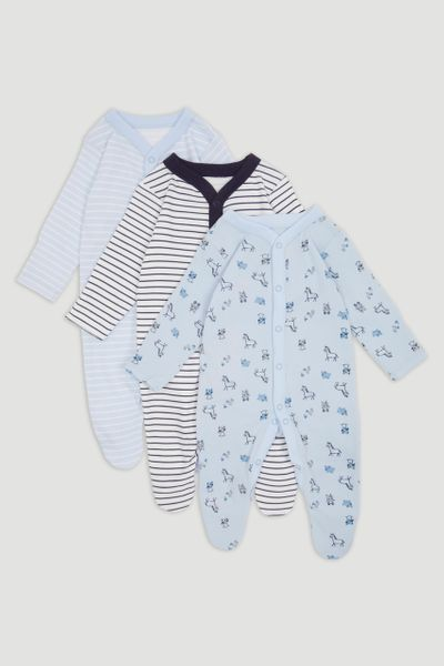 3 Pack Blue Cow print Sleepsuits