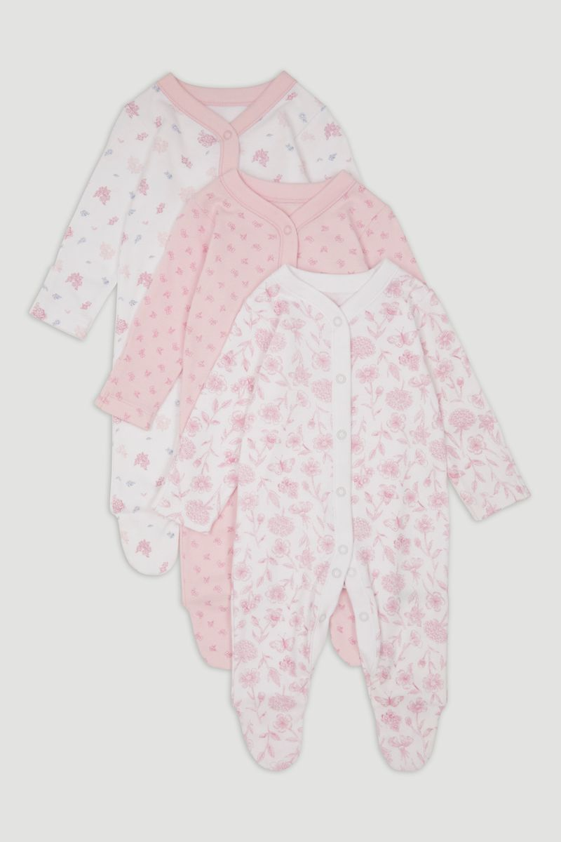 3 Pack Pink Flower Sleepsuits