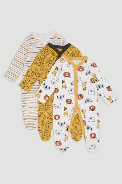 3 Pack Mustard bear Sleepsuits