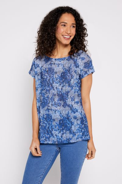 Floral Crosshatch Top