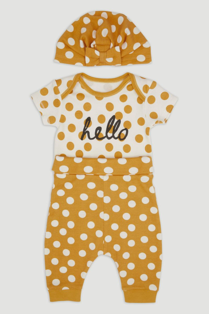 3 Piece Yellow Spot Print Set