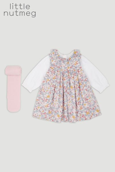 Little Nutmeg Flower Cord Pinafore Dress Set