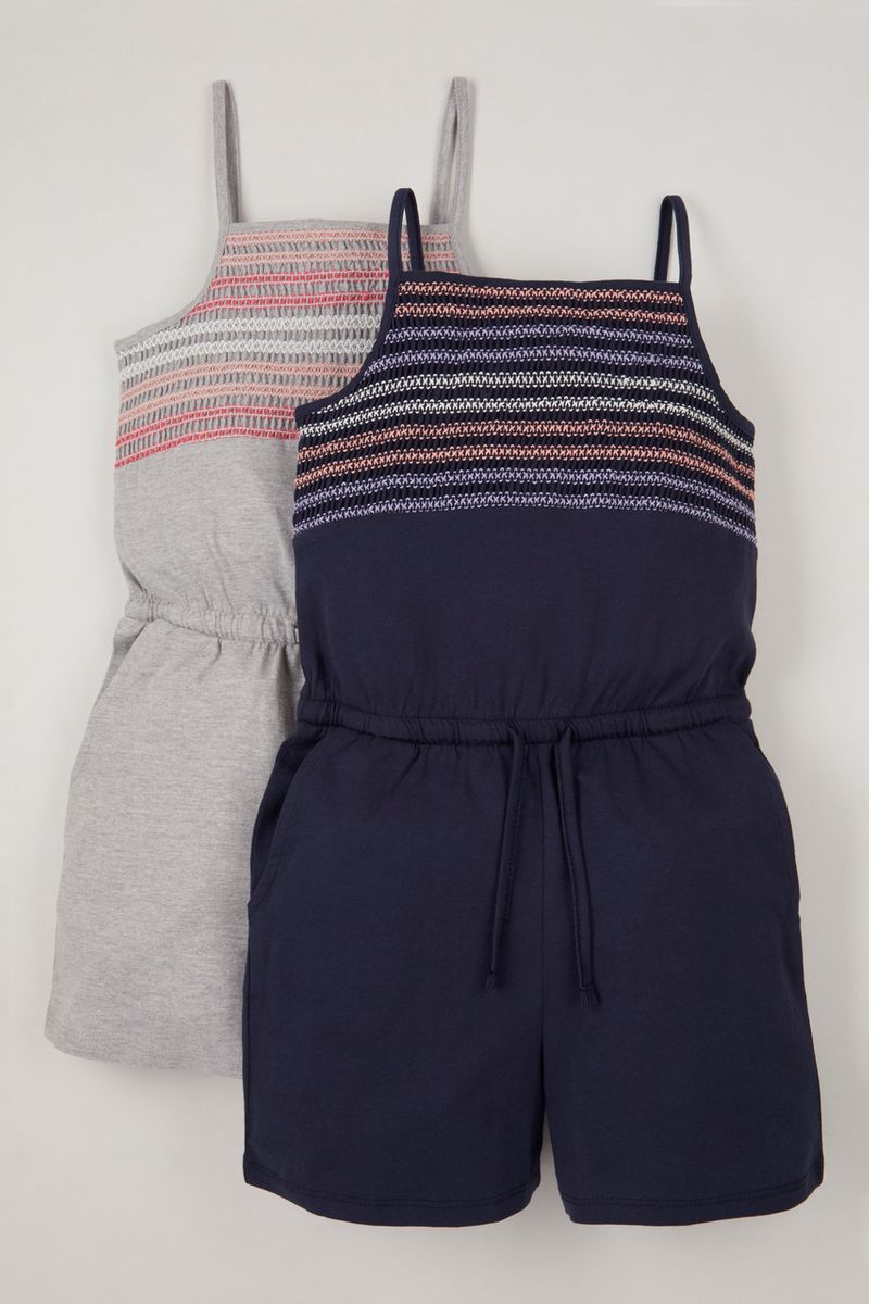 2 Pack Navy & Grey Jersey playsuits