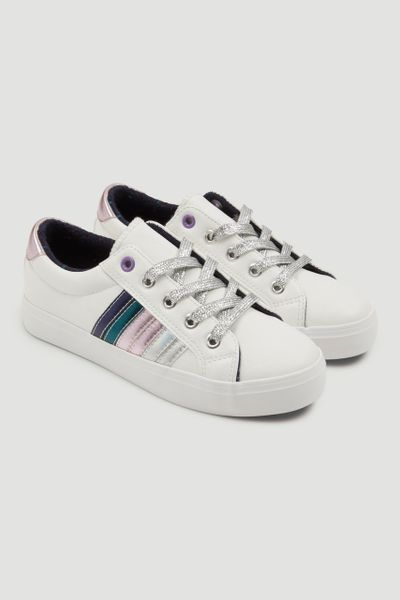 Rainbow Stripe White Trainers