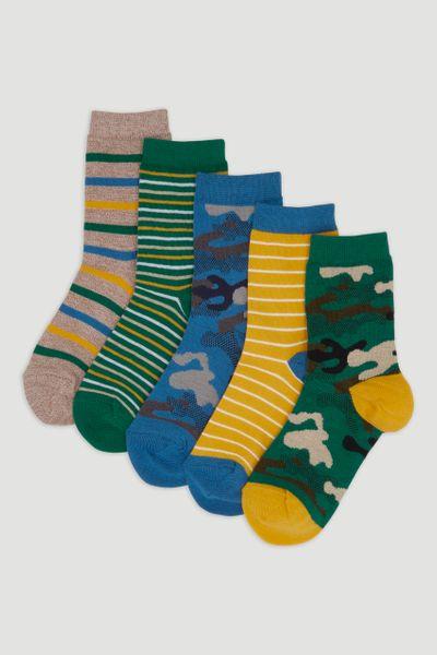 5 Pack Camo Print Socks