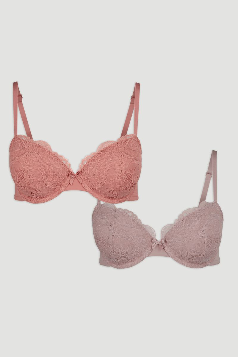 2 Pack Sand & Coral Lace T-Shirt Bras