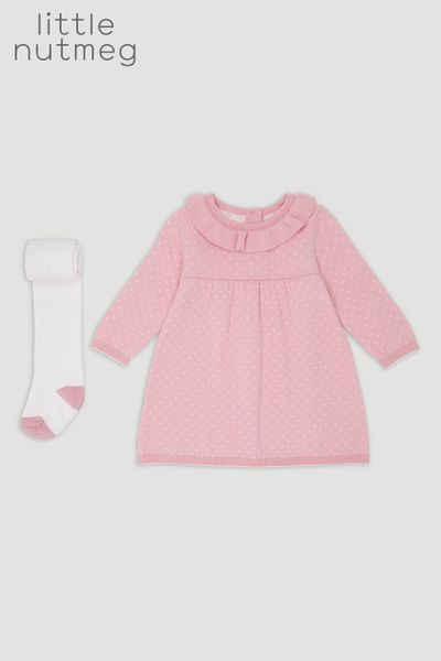 Little Nutmeg Pink Knit Dress & Tights