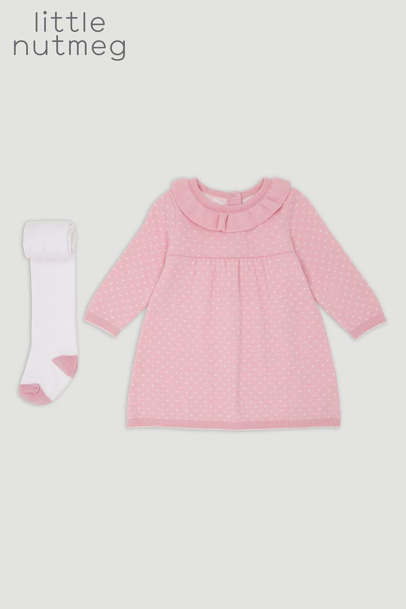 Little Nutmeg Pink Knit Dress & Tights
