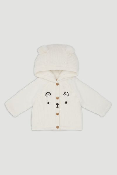 Cream Bear Face Cardigan