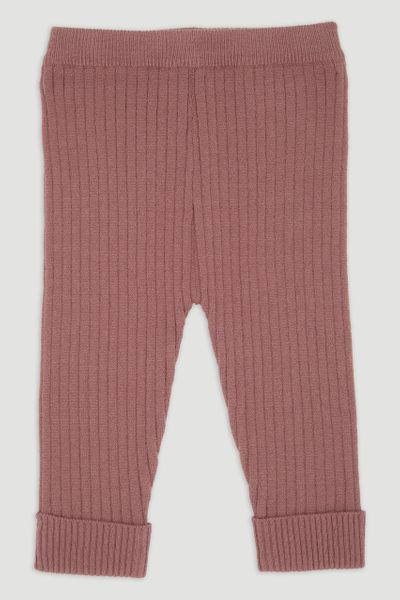 Dusty Pink Rib Knitted Leggings