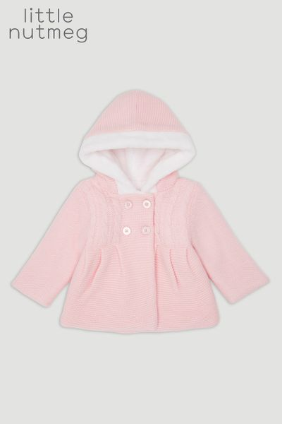 Little Nutmeg Pink Faux Fur Lined Cardigan