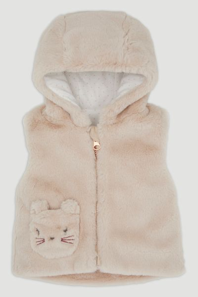 Stone Faux Fur Pocket Gilet