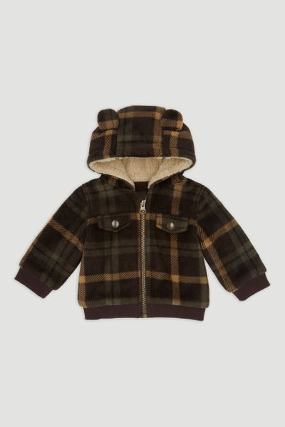 Brown Check Fleece Jacket