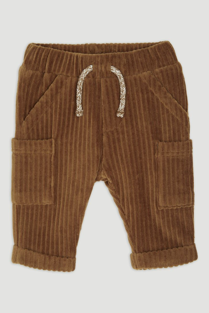 Brown Velour Ribbed Joggers