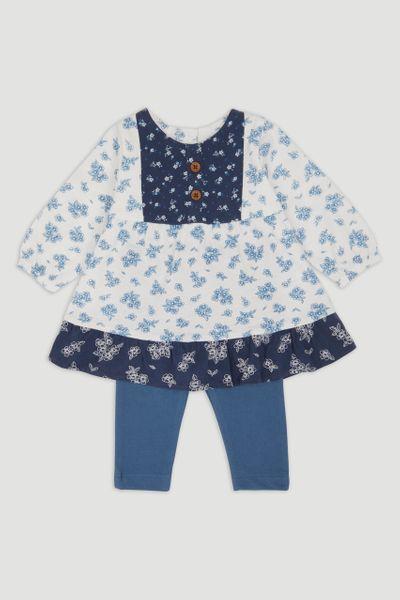 Blue Smock Dress Set
