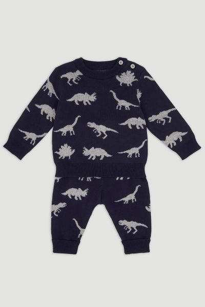 Navy Dinosaur Knitted Set