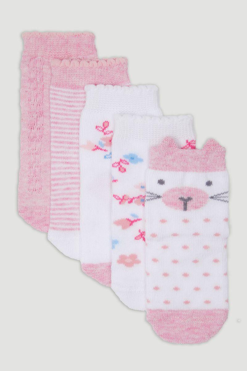 5 Pack Pink Spot Kitten Socks