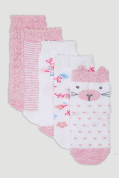 5 Pack Pink Spot Kitten Socks