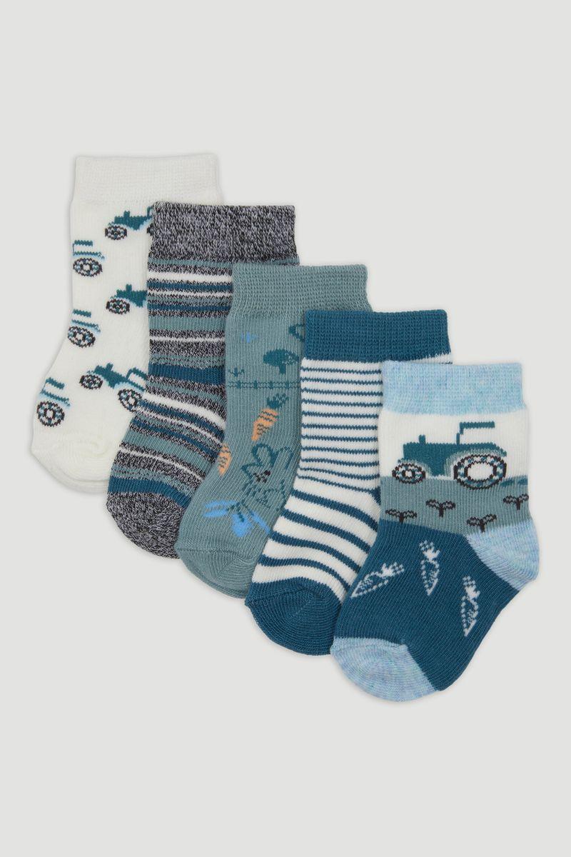 5 Pack Blue Farm Socks