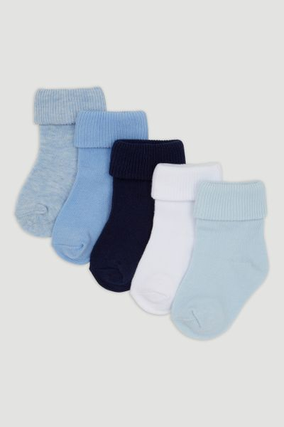 5 Pack Blue Turn Over Socks