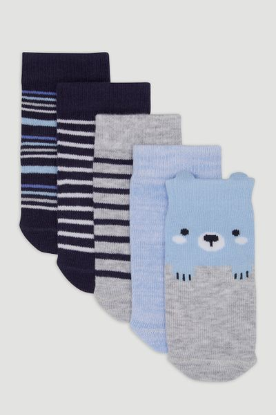 5 Pack Stripe Bear Socks