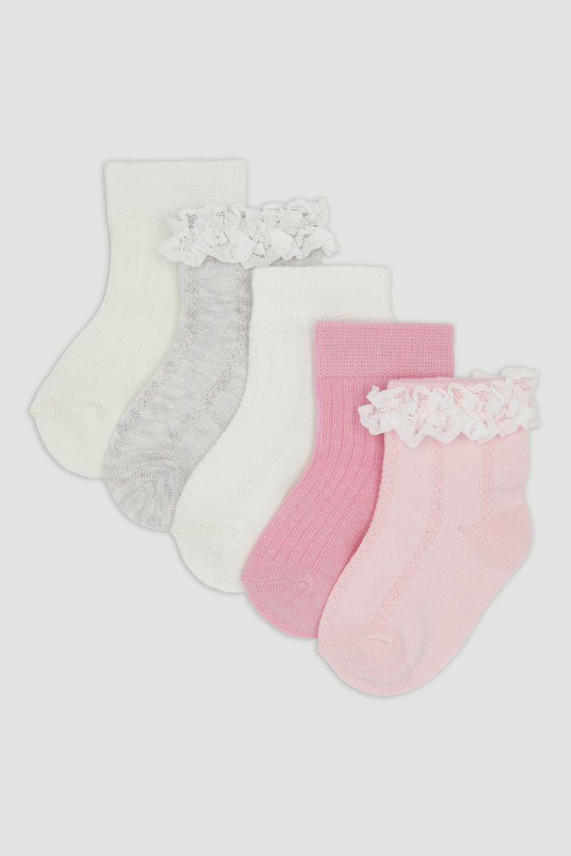 5 Pack Pink & Grey Frilly Socks
