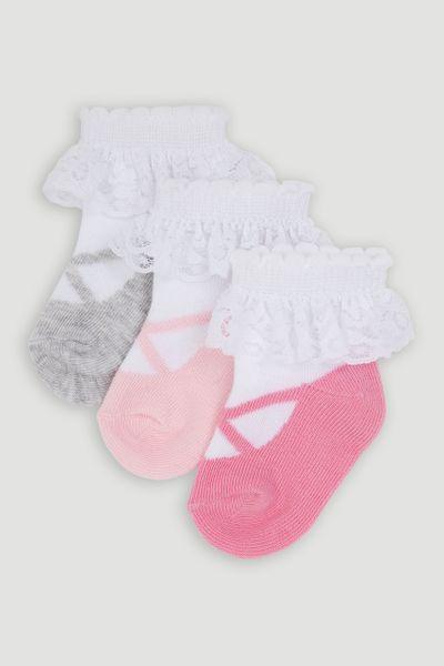 3 Pack Ballet Lace socks