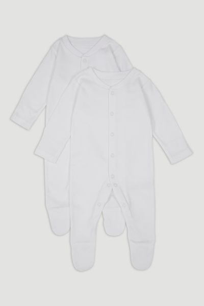 2 Pack White Long Sleeve Sleepsuits