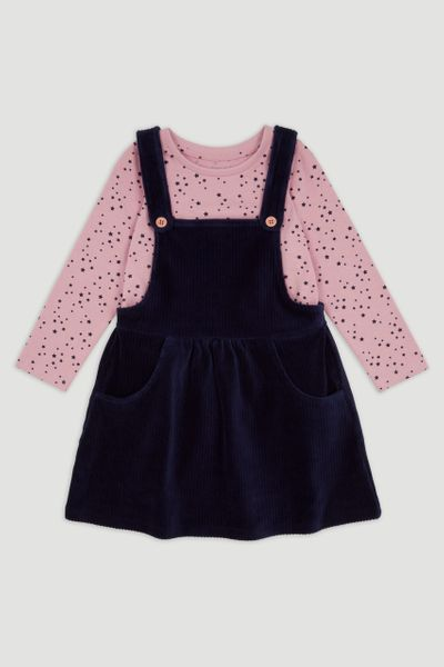 Navy Velour Pinafore Dress Set 1-6yrs