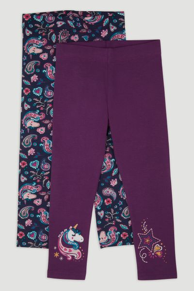 2 Pack Purple Magical Unicorn Leggings