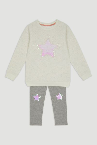 Sequin Star Sweatshirt & Leggings