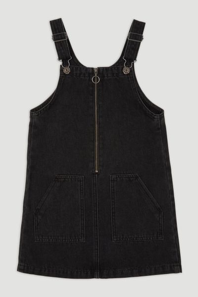 Black Denim Pinafore Dress 3-14yrs