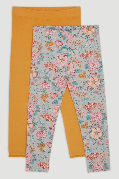 2 Pack Flower & mustard Leggings