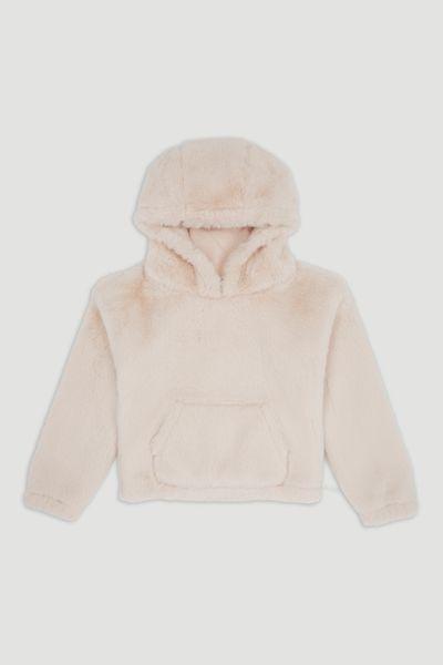 Cream Soft Faux Fur Hoodie