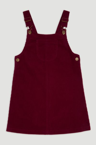 Burgundy Cord Pinafore Dress 3-14yrs
