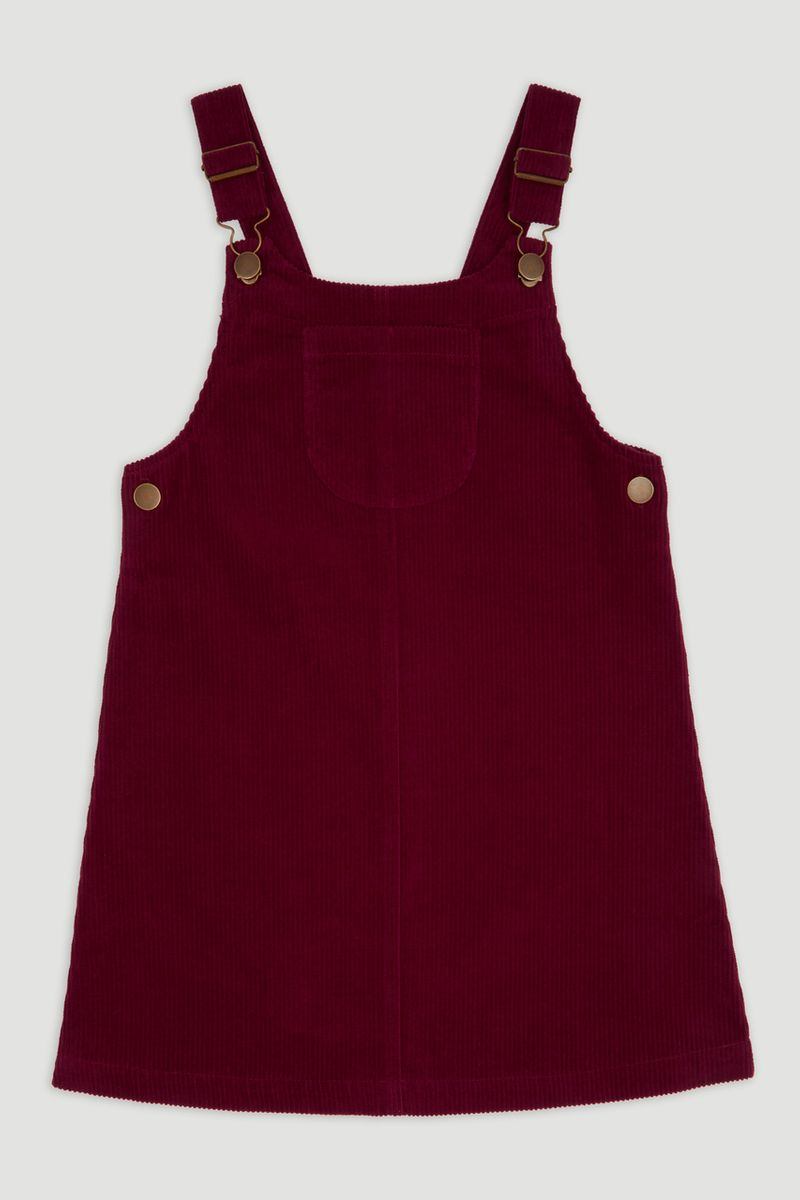 Burgundy Cord Pinafore Dress 3-14yrs
