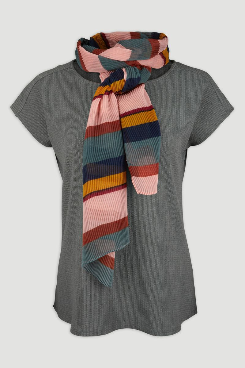 Green Top with Stripe Scarf