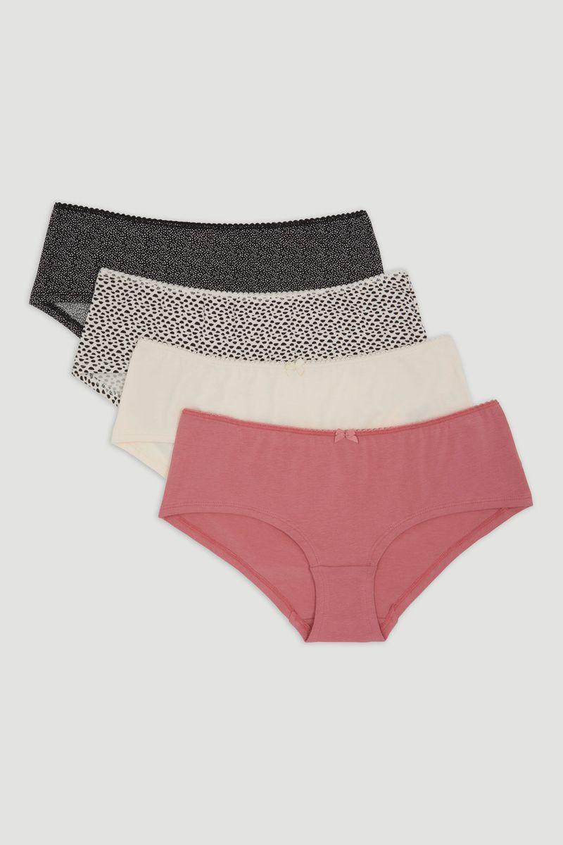 4 Pack Dotty Print Shorts