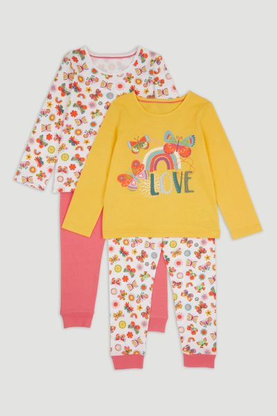 2 Pack Rainbow Butterfly Print Pyjamas
