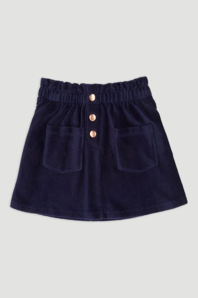 Navy Soft Velour Skater Skirt