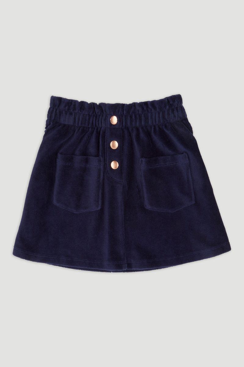 Navy Soft Velour Skater Skirt