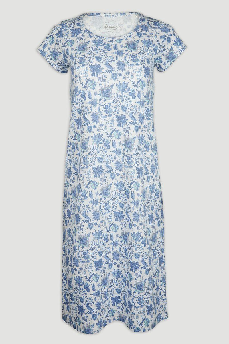 Blue Floral Jersey Nightie
