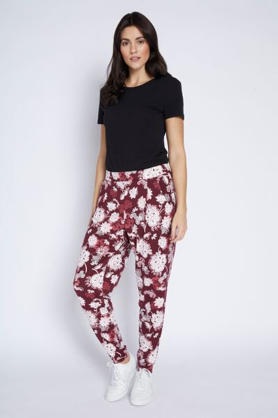Jersey Burgundy Floral Hareem Trousers