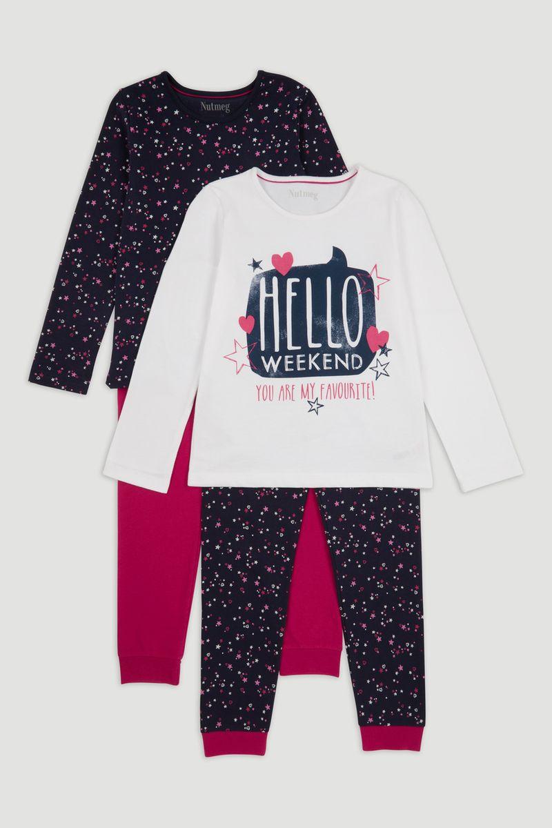 2 Pack Navy Print Pyjamas