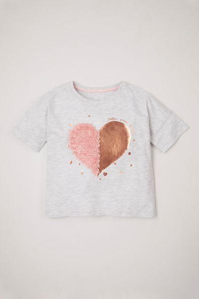 3D Heart Foil Print T-shirt