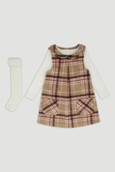 3 Piece Check Pinafore Dress Set 1-6yrs