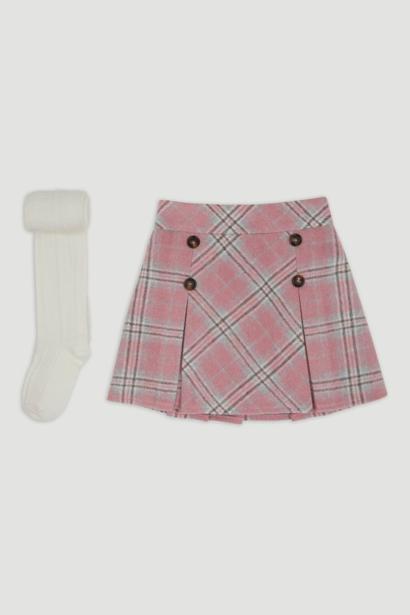 Pink Check Skirt with Cream Tights