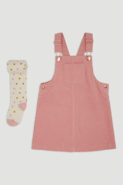 Pink Cord Pinafore Dress & Tights 1-6yrs