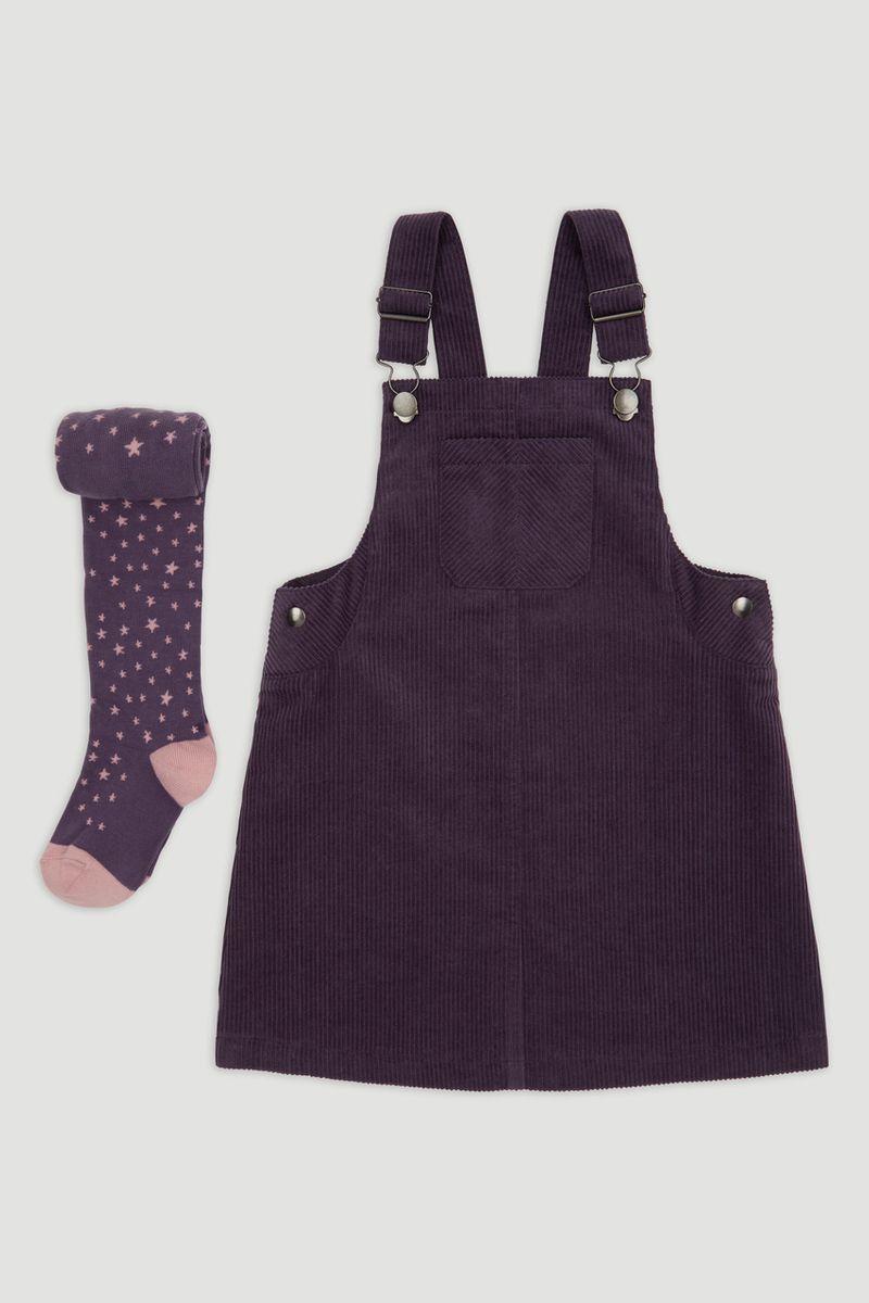 Lilac Pinafore Dress & Tights 1-6yrs