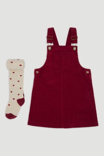 Burgundy Cord Pinafore Dress & Tights 1-6yrs
